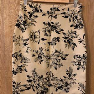Tan and black velvet pencil skirt